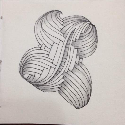 First attempt at new tangle, Ellish, introduced at the April CZT seminars. Need more practice with this, but it's a fun tangle to do!